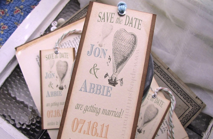 Vintage balloon wedding save the date tag style