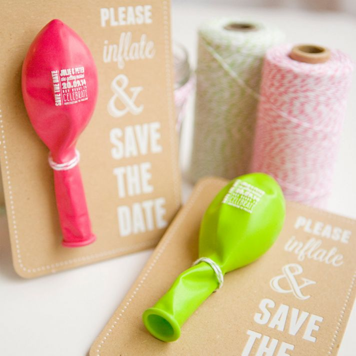 Hot pink balloon wedding save the date