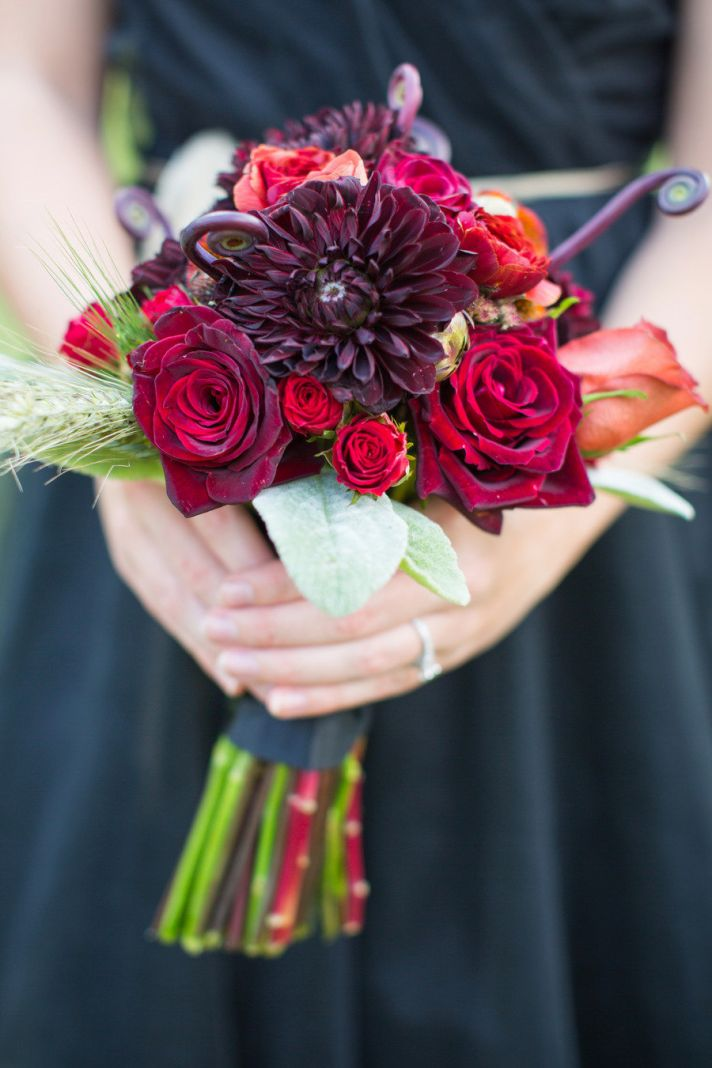 Harvard Crimson wedding inspiration bridesmaid bouquet