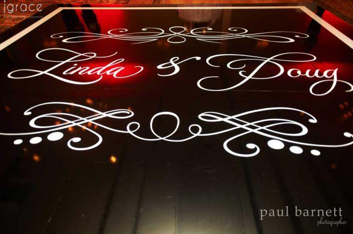 Custom wedding monogram on reception dance floor