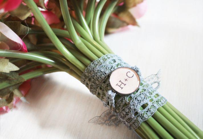 Bridal bouquet charm with custom monogram