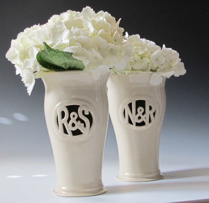 Custom monogram vases for wedding reception