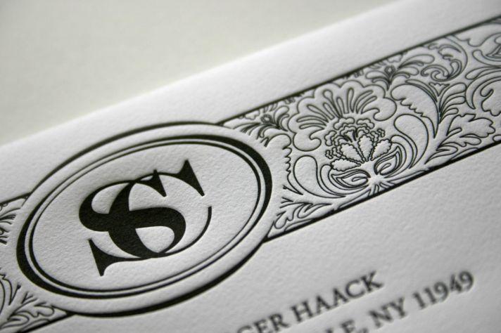 Custom letterpress wedding invitations with monogram