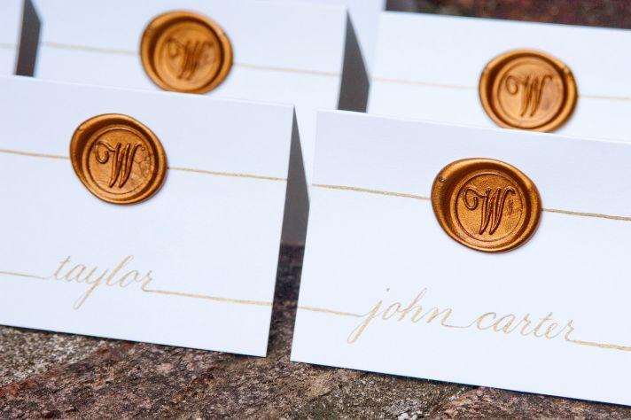 Wax seal monogram escort cards