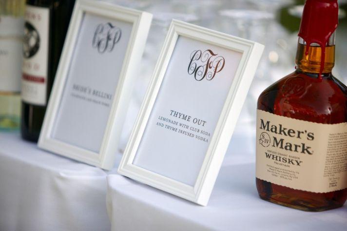 Custom monogram wedding ideas reception bar signs