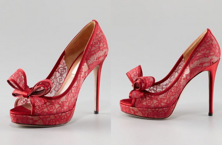 Illusion wedding shoes for 2013 brides red lace