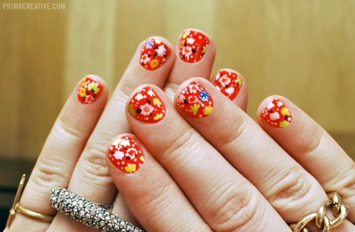 Bright red with floral wedding nails