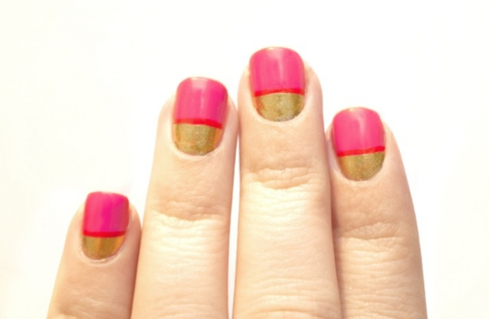 Pink and gold wedding nails