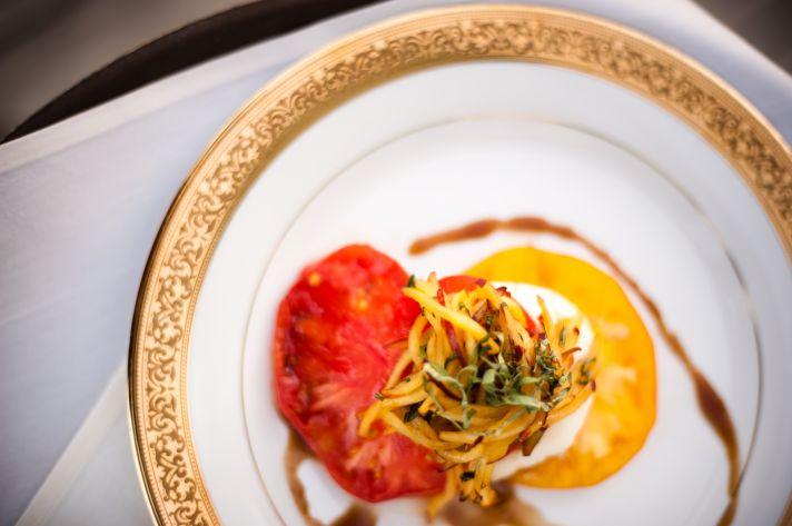 Elegant plating of wedding reception food
