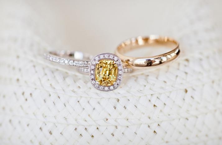 Beautiful wedding photo of brides engagement ring and wedding bands