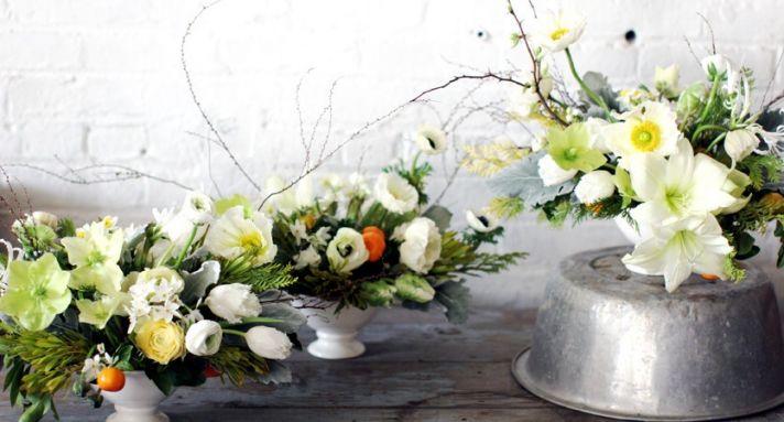 White green yellow Spring wedding centerpieces