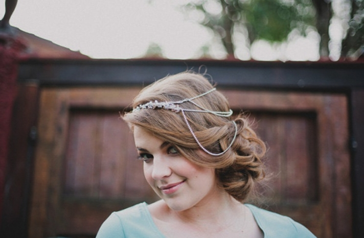 Side swept silky wedding hairstyle