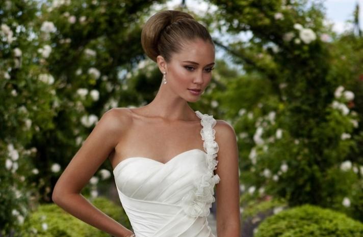Slicked back bridal bun wedding updo