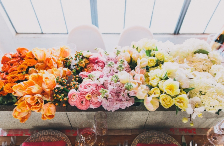 Amazing wedding flower display tulips roses hydrangeas