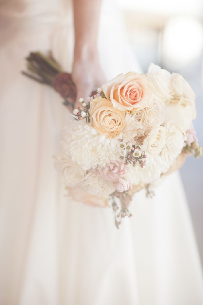 Pale Peach And Ivory Wedding Bouquet For Brides