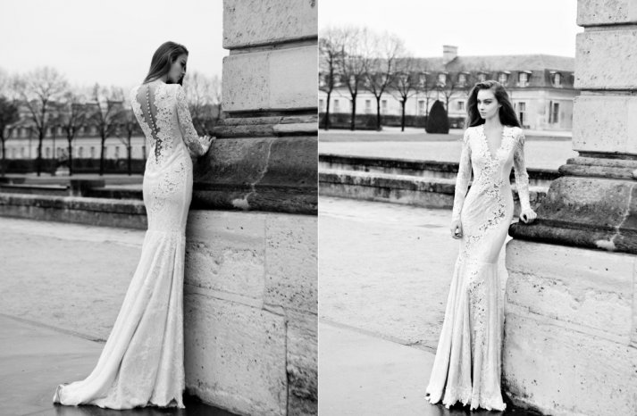 2013 mermaid wedding dress lace with sleeves