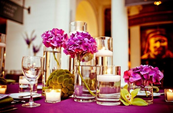 Purple and green wedding reception table hydrangeas