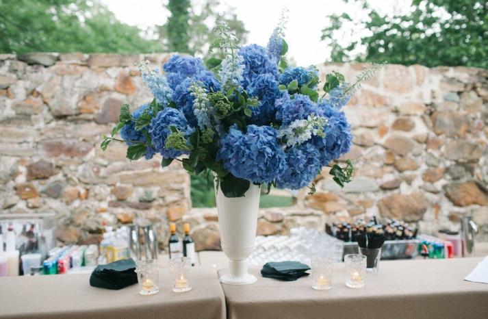 Blue and Green Hydrangea wedding centerpiece