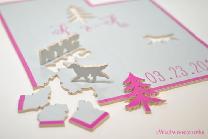 White and Pink wedding guest book alternative puzzle