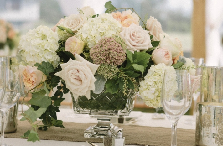 Romantic neutrals spring wedding centerpiece
