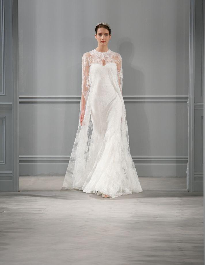 Spring 2014 lace Monique Lhuillier wedding dress