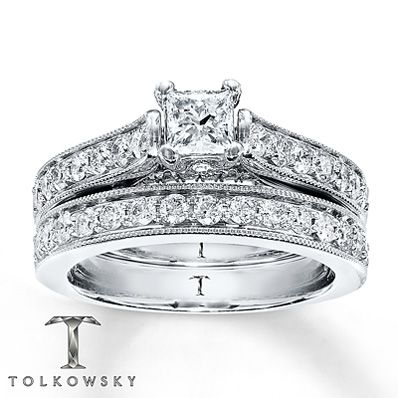 rings set jewelers white engagement fashion gold round diamond ring ct kay tw cut bridal