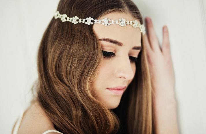Bohemian waves with a crystal bridal tiara