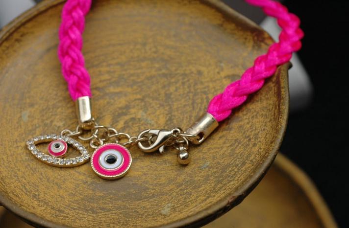 Hot pink evil eye bracelet