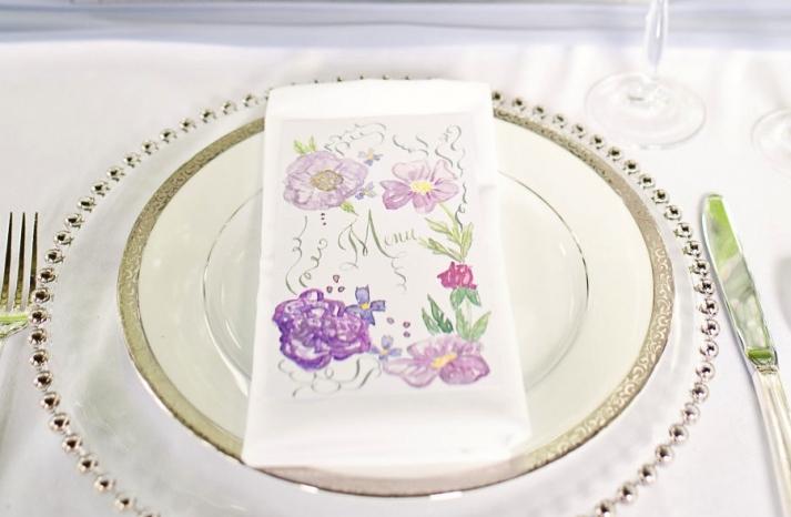 Handpainted wedding menus