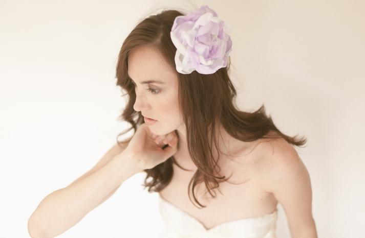 Lavender hair flower for bridesmaids