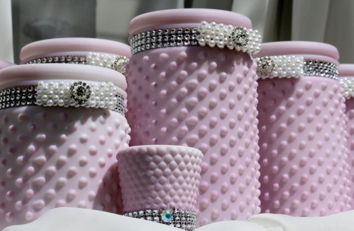 Lavender dot wedding centerpiece vases