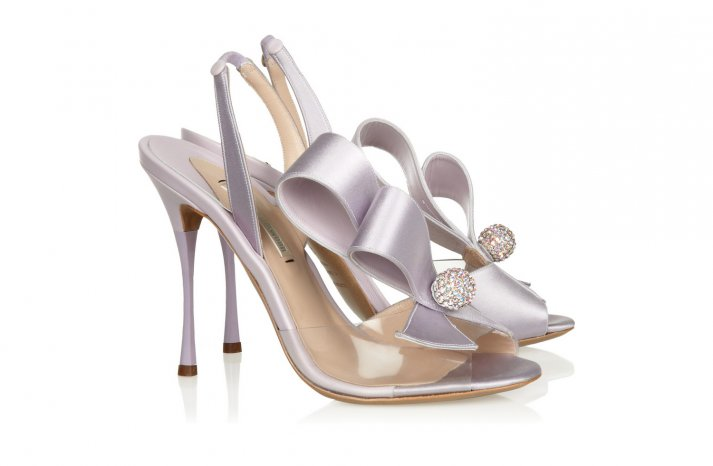 Lavender satin Wedding Shoes with bows