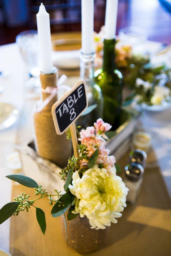 Rustic Romance wedding reception decor Florida venue