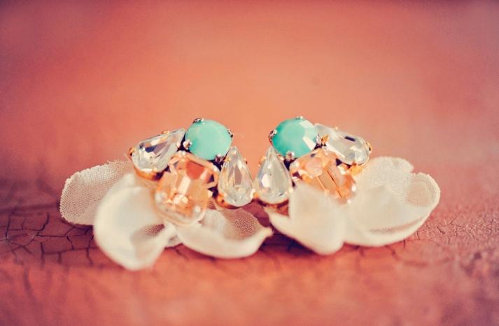 something blue turquoise peach wedding earrings