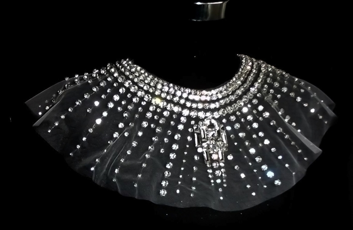Tulle statement capelet with crystals
