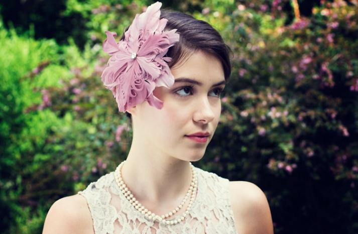 Pink feather wedding fascinator