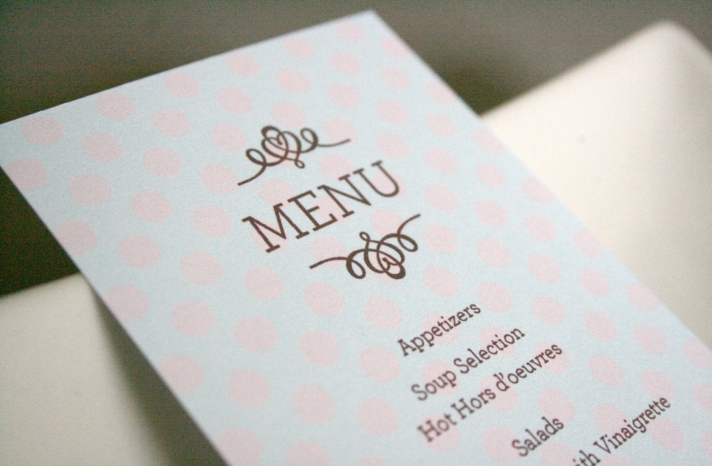 Light pink aqua wedding menus