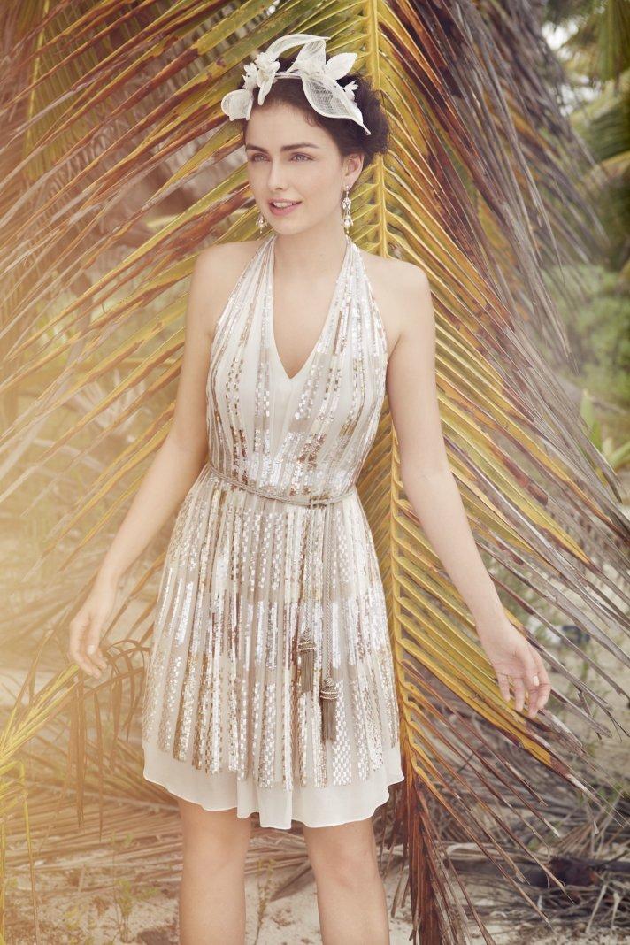 Gray lace bridesmaid dress by BHLDN