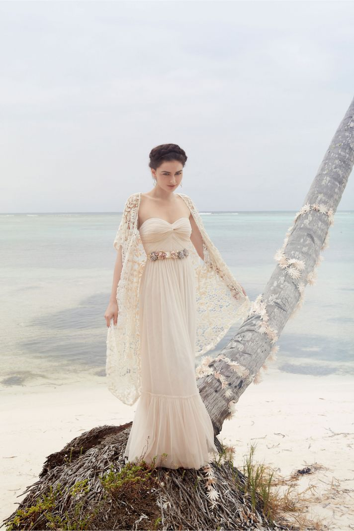 Sweetheart neckline long bridesmaid dress by BHLDN