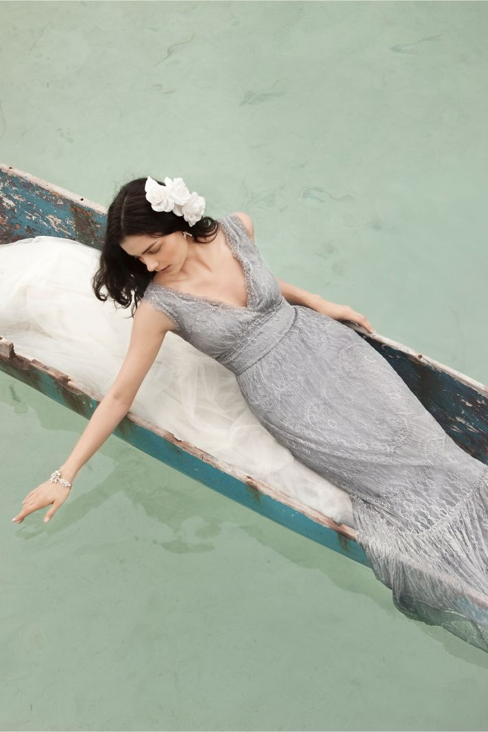 Gray lace BHLDN bridesmaid dress long mermaid