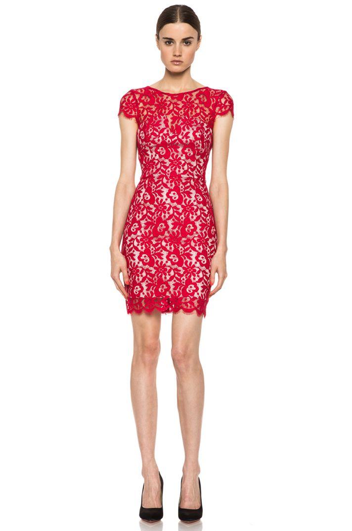Elegant red lace bridesmaid dress