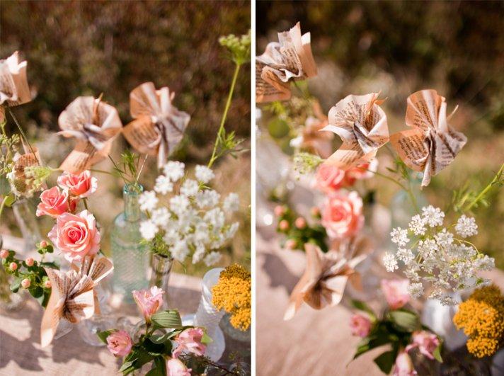 rustic barn wedding IL photographers DIY centerpieces paper flowers