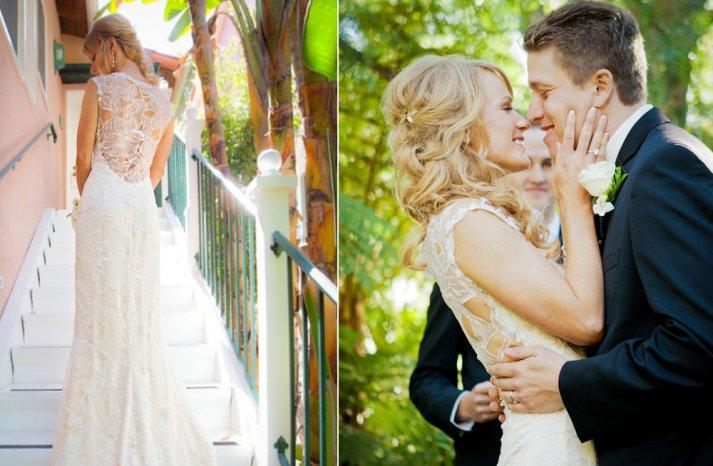 Floral lace back wedding dress destination bride