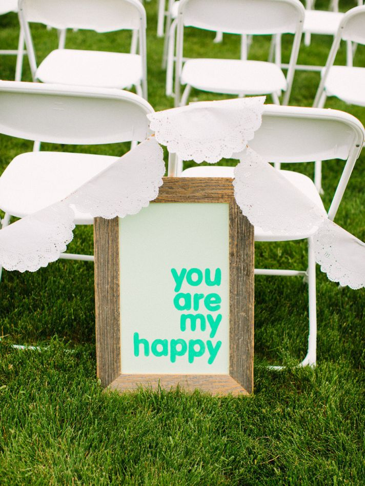 You are my happy bright wedding sign