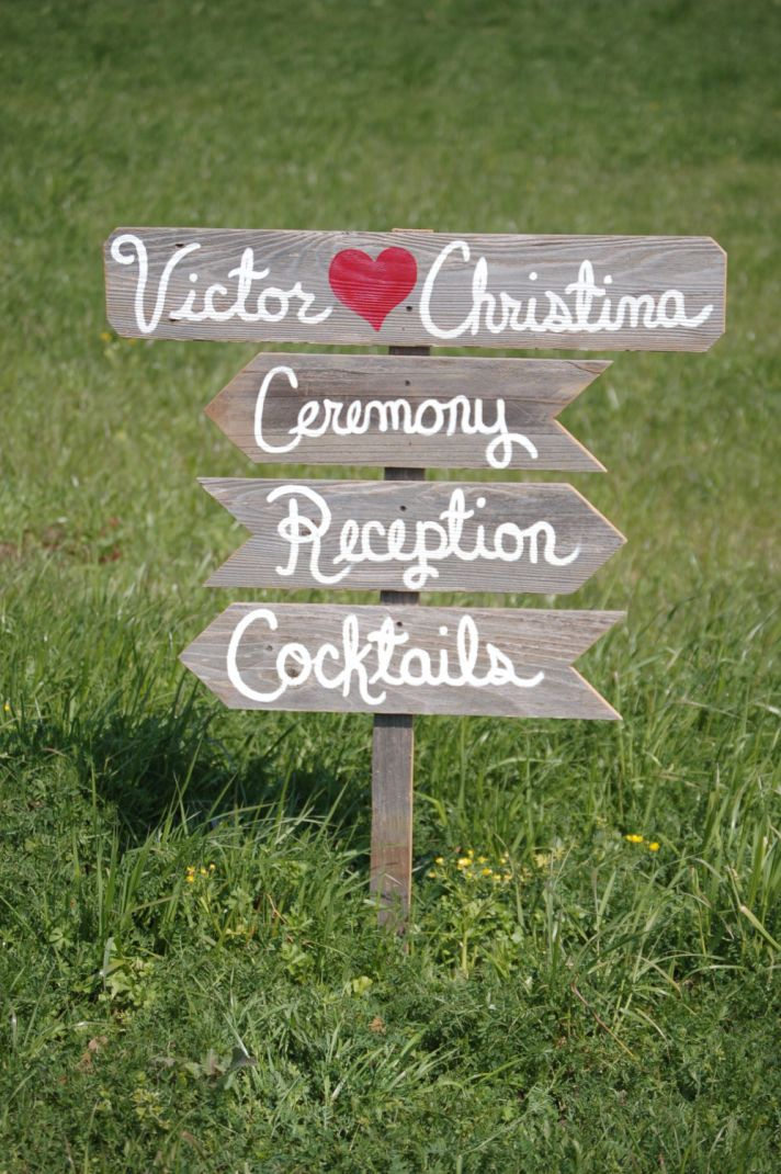 Rustic wood wedding signs with red heart