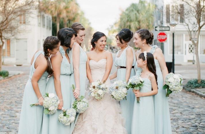 pastel seafoam bridesmaid dresses for summer