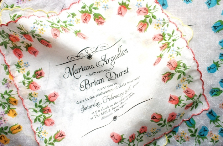 custom handpainted wedding invitation hankies original