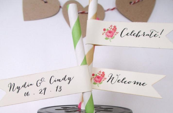 mason jar wedding favors with whimsical straw tags