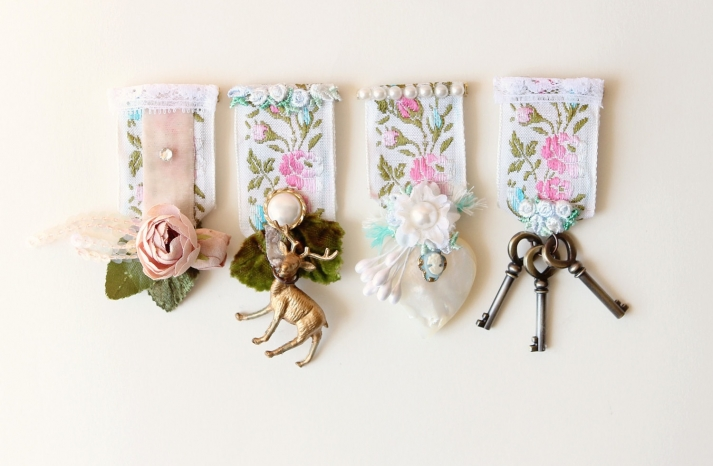 Floral fabric boutonnieres with vintage medallions