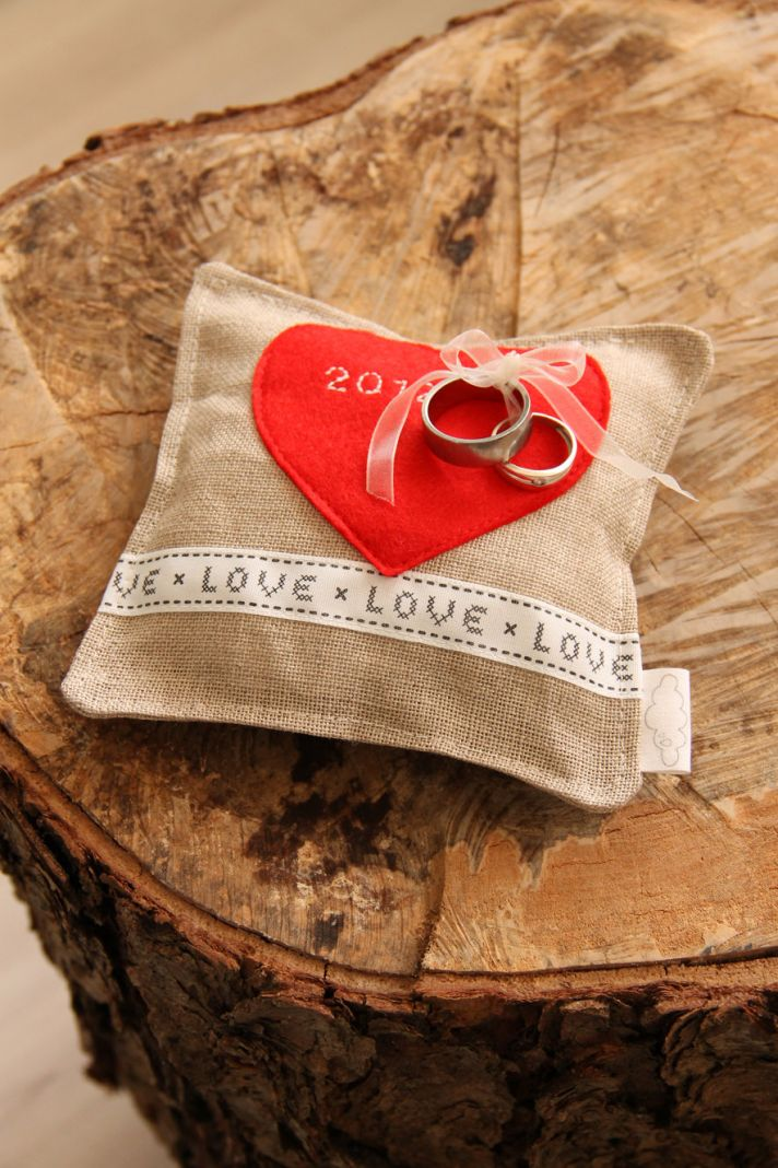Rustic burlap ring bearer pillow with red heart